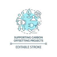 Symbol für das Konzept der Unterstützung von Klimaschutzprojekten. Neutralisierung von CO2-Emissionen abstrakte Idee dünne Linie Illustration. energetische Nachhaltigkeit. Vektor isolierte Umriss-Farbzeichnung. bearbeitbarer Strich