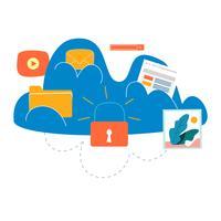 Cloud computing tjänster och teknik vektor