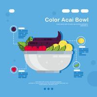 Farbe Acai Bowl Vector