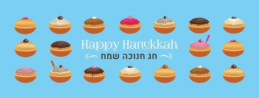 traditioneller jüdischer Feiertagskrapfen von Chanukka mit verschiedenen Zuckerguss vektor