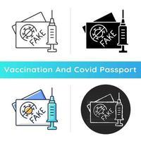 Symbol für gefälschte Impfkarten. falsches Coronavirus-Zertifikat. fabrizierter Reisepass für Covid-Impfstoff. Gesundheitsversorgung und Medizin. lineare Schwarz- und RGB-Farbstile. isolierte vektorillustrationen vektor