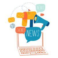 E-Mail-Nachrichten, Abonnement, flaches Vektor-Illustrationsdesign der Förderung