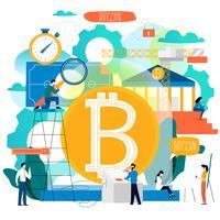 Bitcoin, blockchain-teknik vektor