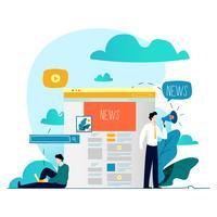 Online nyheter webbplats platt vektor illustration