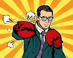 Mann in Boxhandschuhen Pop-Art-Stil