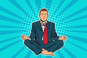 Junger Geschäftsmann, der in der Lotussitzpop-art-Comic-Buchart sitzt