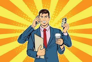 Affärsman med många händer affärsidé för tidshantering