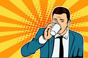 Geschäftsmann, der den Tasse Kaffee seitlich schaut trinkt vektor
