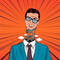 Popkonst stressad affärsman med sprängande huvud vektor