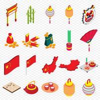 Abbildung der grafischen chinesischen Gegenstandikonen der Informationen stellte Konzept ein vektor