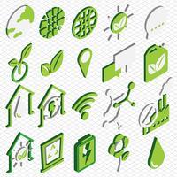 Abbildung der grafischen eco Ikonen der Informationen stellte Konzept ein vektor