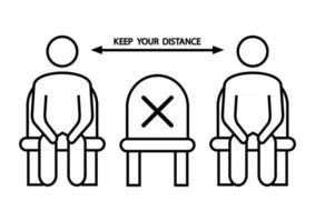 setz dich nicht hier hin. verbotenes Symbol für den Sitz. soziale Distanzierung, physische Distanzierung auf einem öffentlichen Stuhl sitzend, Umrisssymbol. Halten Sie Abstand. Vektor