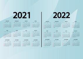 Kalender 2021-2022 Jahre. die woche beginnt sonntag. Jahreskalender 2021, 2022 Vorlage. Wandkalender mit abstraktem blauem Hintergrund. Sonntag in roten Farben. Vektor