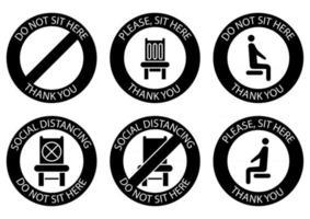 setz dich nicht hier hin. verbotene Symbole für den Sitz. sichere soziale Distanzierung beim Sitzen auf einem öffentlichen Stuhl. Glyphensymbole. Lockdown-Regel. Halten Sie im Sitzen Abstand. verbotener Stuhl vektor