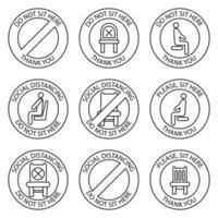 nicht sitzen, Zeichen. verbotene Symbole für den Sitz. Sichere soziale Distanzierung beim Sitzen auf einem öffentlichen Stuhl, Umrisssymbole. Lockdown-Regel. Halten Sie im Sitzen Abstand. verbotener Stuhl vektor