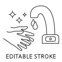 Händewaschen unter dem Wasserhahn mit Sensor, dünnes Liniensymbol. Berühren Sie weniger Wasserkran mit den Händen im Umrissstil. Bewegung Wasserhahn. sterile Oberfläche. Symbol für den automatischen Handwaschhahn. Vektor