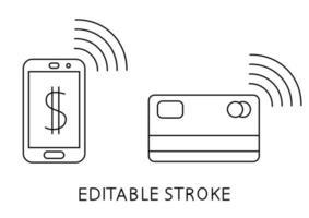 kontaktloses Zahlungskonzept. Zahlung verwendet drahtlose Kreditkarte oder Smartphone. nfc-Technologie. Kasse für Kreditkartentransaktionen. pos bezahlen mobile Kasse. editierbarer Strich. Vektor