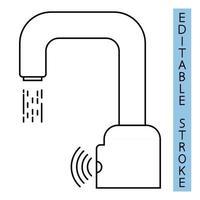automatischer Wasserhahn-Vektor-Symbol. moderner Wasserkran. automatisierte berührungslose Toilettenausstattung mit Sensoren. kontaktlose Wasserhähne. Symbol für den automatischen Handwaschhahn. Umriss-Symbol. Vektor
