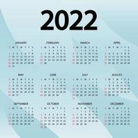 Kalender 2022 Jahr - Vektor-Illustration. die woche beginnt sonntag. Jahreskalender 2022 Vorlage. Wandkalender mit abstraktem blauem Hintergrund. Sonntag in roten Farben. Vektor