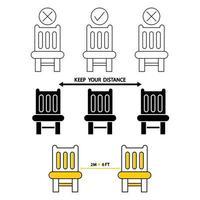 setz dich nicht hier hin. verbotene Sitzgelegenheiten, Symbol. Beschilderung für Restaurants und öffentliche Plätze. soziale Distanzierung, physische Distanzierung auf einem öffentlichen Stuhl sitzend, Umrisssymbol. Halten Sie Abstand. Vektor
