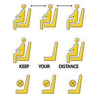 Halten Sie Abstand. setz dich nicht hier hin. verbotenes Symbol für den Sitz. soziale Distanz im öffentlichen Raum. Verbotszeichen. Lockdown-Regel. Halten Sie im Sitzen Abstand. Mann auf dem Stuhl vektor