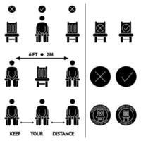 Halten Sie Abstand. setz dich nicht hier hin. verbotenes Symbol für den Sitz. distanziertes Sitzen. Lockdown-Regeln. Halten Sie Abstand, wenn Sie sitzen. Mann auf dem Stuhl. Vektor