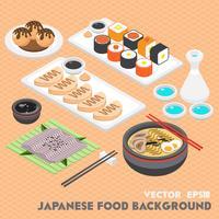 Illustration des grafischen japanischen Lebensmittelkonzeptes der Informationen
