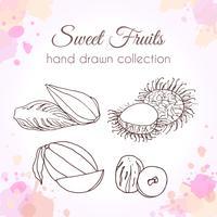 Satz Hand gezeichnete frische Früchte mit buntem Aquarell spritzt