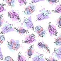 Handdragen fjädrar sömlöst mönster.