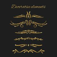 Glänsande dekorativa handritade gränser med glittereffekt vektor
