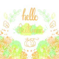Hallo Herbstkarte mit Beschriftung.
