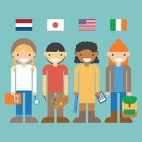Studenten aus verschiedenen Ländern vektor