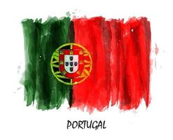 realistische aquarellmalerei flagge von portugal. Vektor. vektor