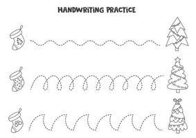 Nachzeichnen von Linien mit schwarzen und weißen Weihnachtssocken und -bäumen. Schreiberfahrung. vektor
