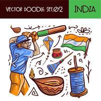 Indiska republikens dag ikonuppsättning vektor