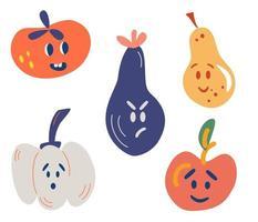 grönsaker och frukter med roliga ansikten. tomat, aubergine, äpple, päron, pumpa. rolig, arg, förvånad. mat koncept. för snabbköpet. vektor tecknad smiley ansikte frukt och grönsaker karaktärer