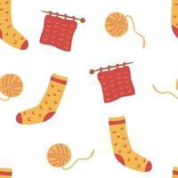 nahtloses Muster mit Socken und Stricken. Fadenknäuel, Stricknadeln und Socken. süßer winter oder herbst gemütlicher hintergrund für saisonale textilien, verpackungspapier. fertige Produktion, Herstellung. Vektor