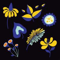 Mod Blume Clipart Elemente Pack vektor