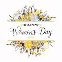 Internationella kvinnodagen. Vektor mall med blommor och bokstäver.