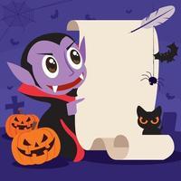 Fröhliches Halloween. Cartoon niedlicher Vampir mit Retro-Papierschild und Federstift im Grabhintergrund vektor