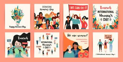 Internationaler Frauentag. Vektorvorlagen mit verschiedenen Nationalitäten und Kulturen der Frauen.