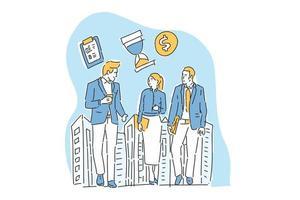Drei Geschäftsleute treffen sich Illustration Hand zeichnen hand vektor