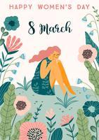 Internationaler Frauentag. Vektorschablone mit netter Frau.