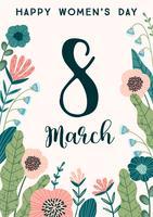 Internationaler Frauentag. Vektor Vorlage mit Blumen.