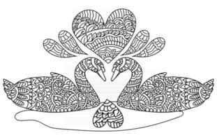 Schwanenpaar Liebe Gekritzel handgezeichnete Malbuchseite für Kinder und Erwachsene vektor
