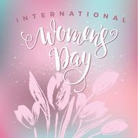 Internationella kvinnodagen. Brevdesign med blommor