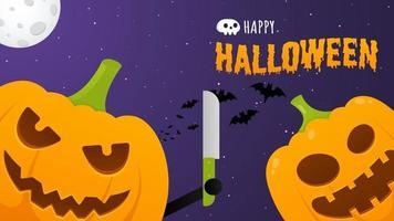 Happy Halloween Poster mit zwei Kürbissen mit gruseligem Gesichtsausdruck vektor