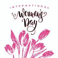 Internationaler Frauentag. Schriftgestaltung mit Blumen