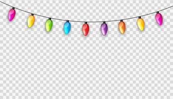 bunte Girlande Lampenbirnen festlich isoliert auf transparentem Hintergrund Vektor-Illustration vektor