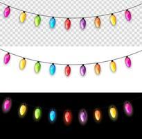 mehrfarbige Girlandenlampenbirnen festlich isoliert auf transparenter, weißer, schwarzer Hintergrundvektorillustration vektor
